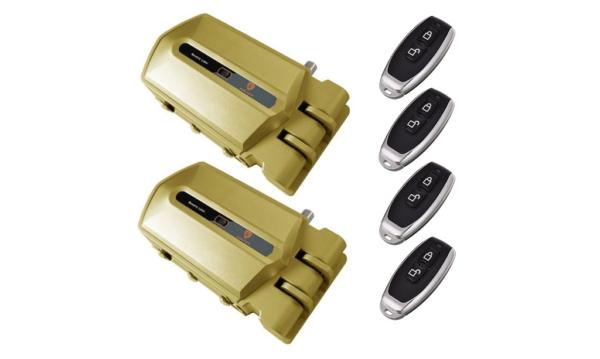 duo cerraduras invisibles doradas con alarma 95db