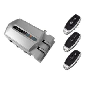 cerradura invisible con 3 mandos plata y alarma